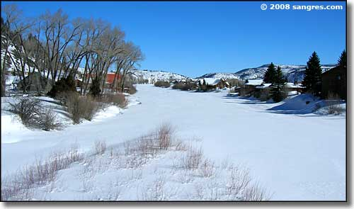 The frozen Rio Grande in South Fork, Colorado