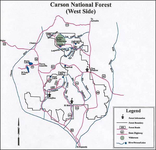 Fishing map, Carson National Forest