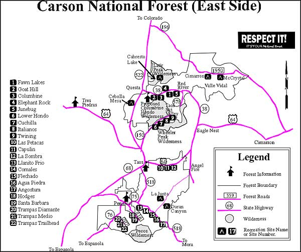 Campgrounds map for Carson National Forest