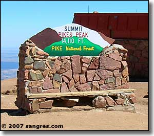 Pikes Peak summit sign