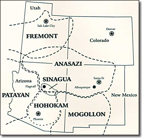 map of the Southwestern States showing the areas of ancient Native    Anasazi Location