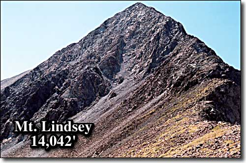 The Mount Lindsey summit pyramid