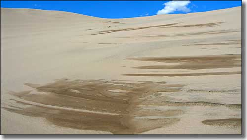 water in the Great Sand Dunes themselves