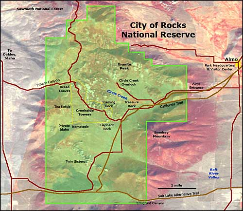 City of Rocks National Reserve map