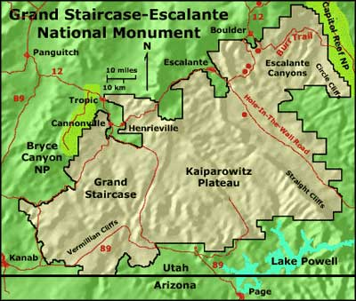 Map of Grand Staircase-Escalante National Monument