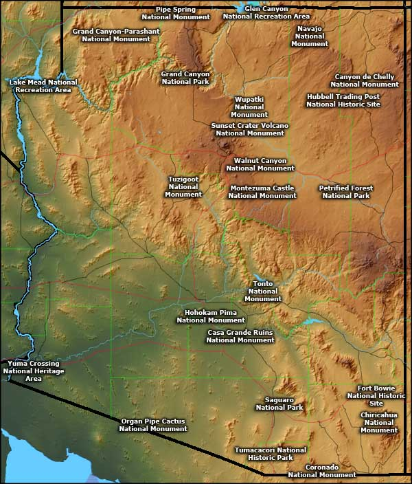 Arizona National Parks map