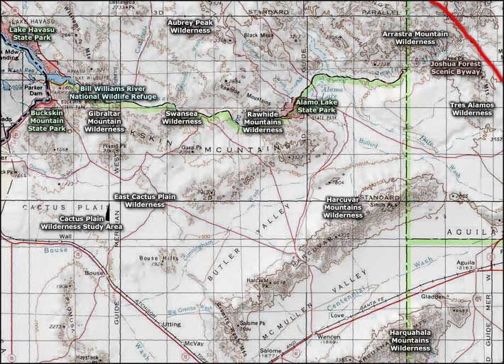Rawhide Mountains Wilderness area map