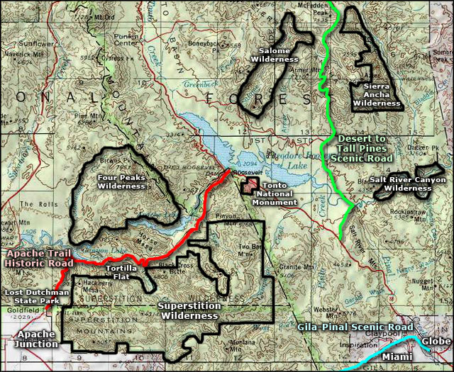 Apache Trail Historic Road area map