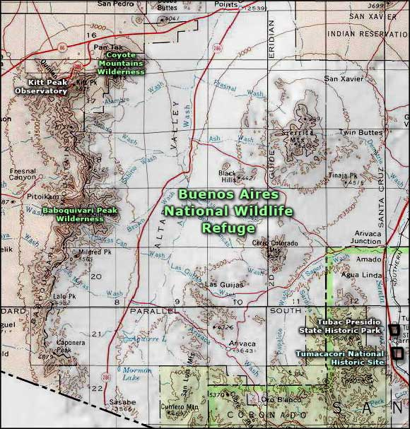 Baboquivari Peak Wilderness area map