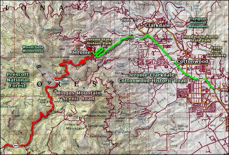 Jerome, Clarkdale and Cottonwood Historic Road area map
