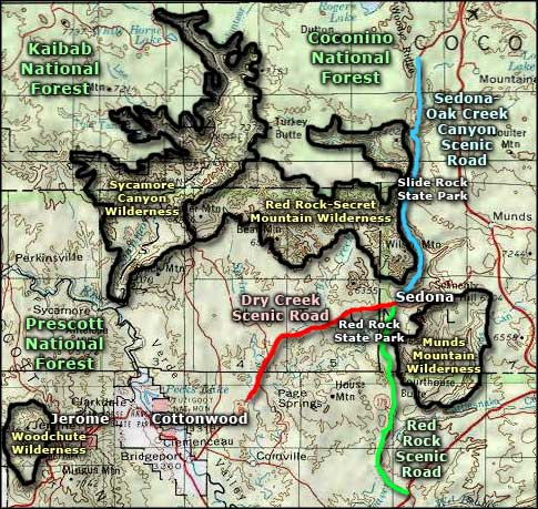 Sedona-Oak Creek Canyon Scenic Road area map