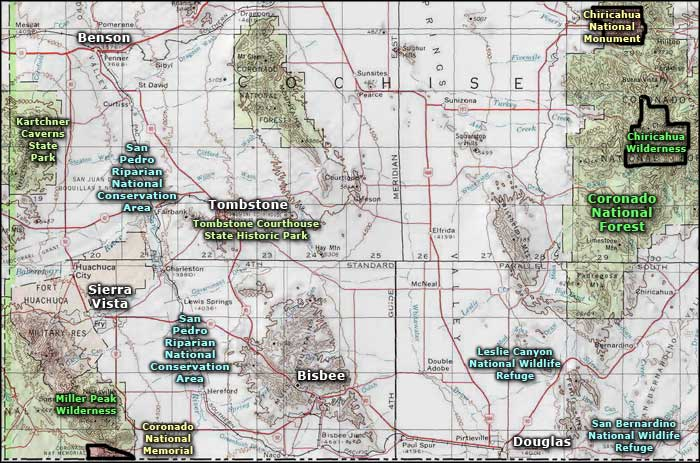 San Bernardino National Wildlife Refuge area map