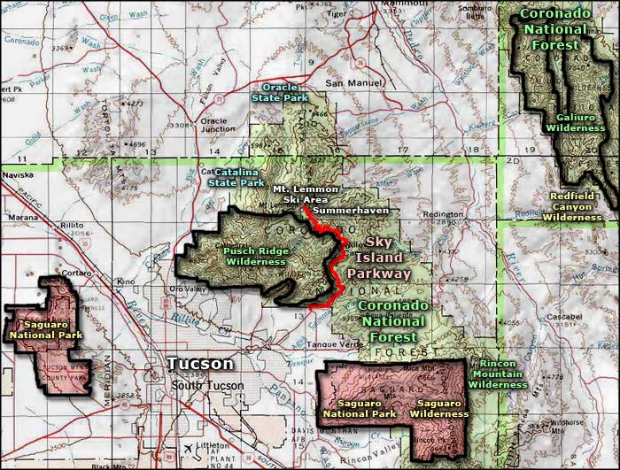 Pusch Ridge Wilderness area map