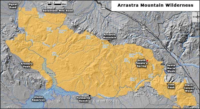 Arrastra Mountain Wilderness map