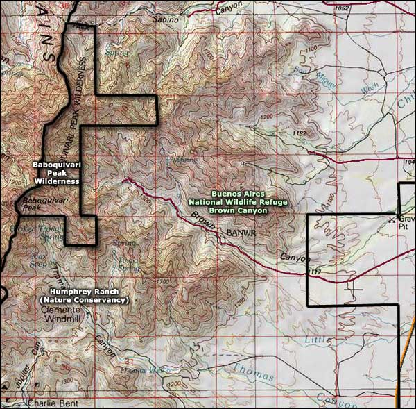 Baboquivari Peak Wilderness map