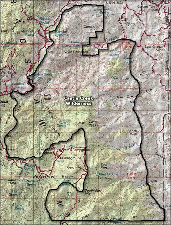 Castle Creek Wilderness map