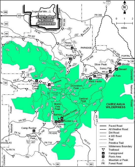 Chiricahua Wilderness map