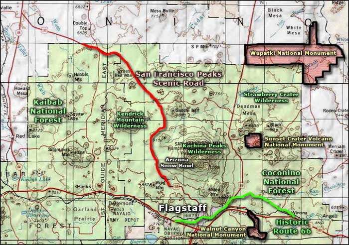 Sunset Crater Volcano National Monument area map