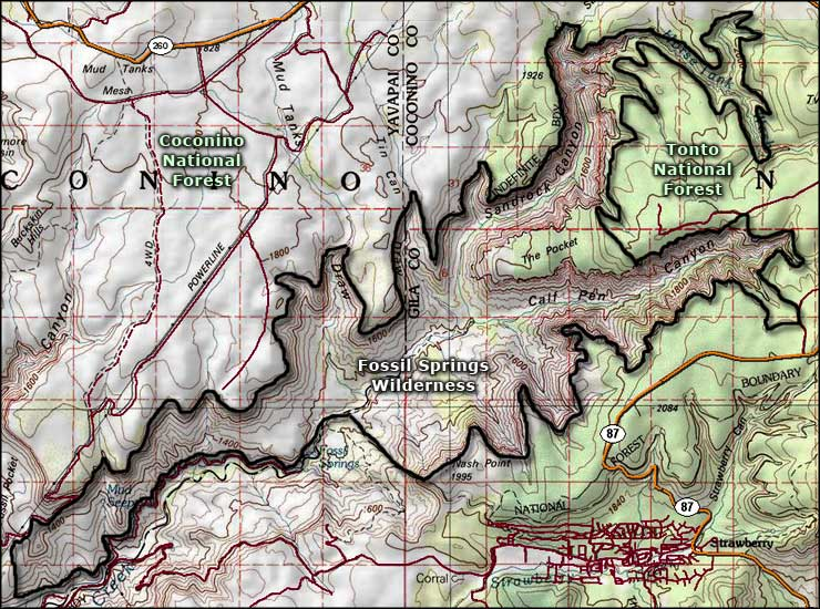 Fossil Springs Wilderness map