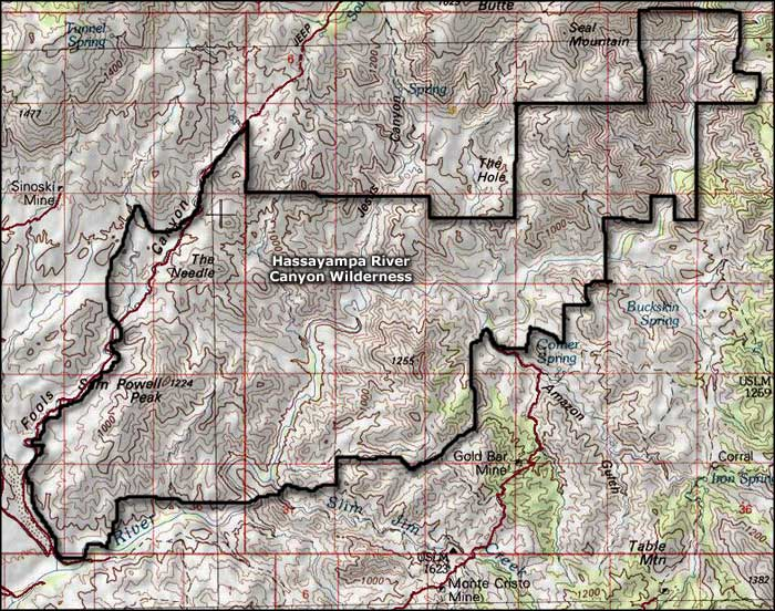 Hassayampa River Canyon Wilderness map