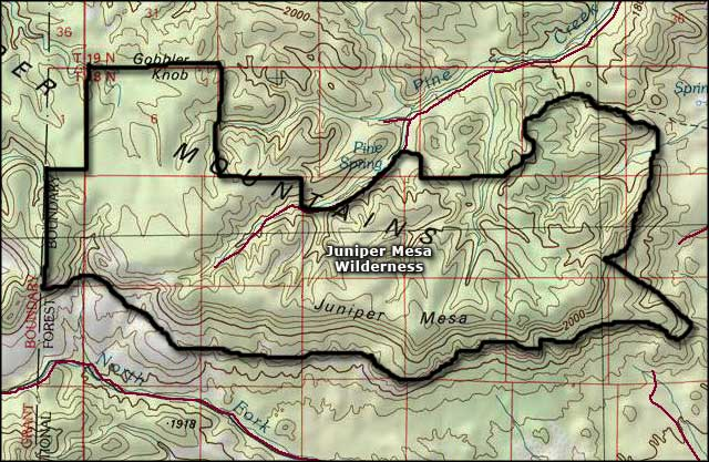 Juniper Mesa Wilderness map