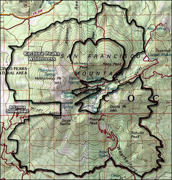 Kachina Peaks Wilderness map