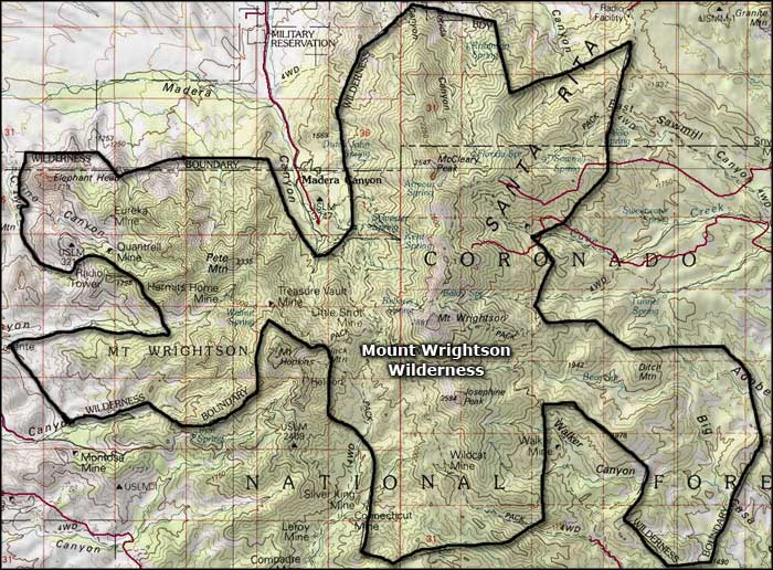 Mt. Wrightson Wilderness map