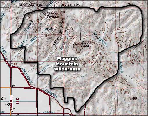 Muggins Mountain Wilderness map