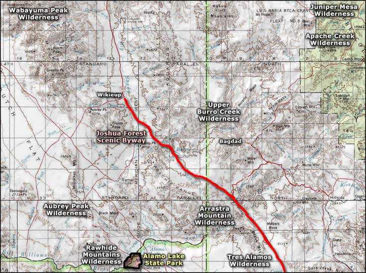 Tres Alamos Wilderness area map