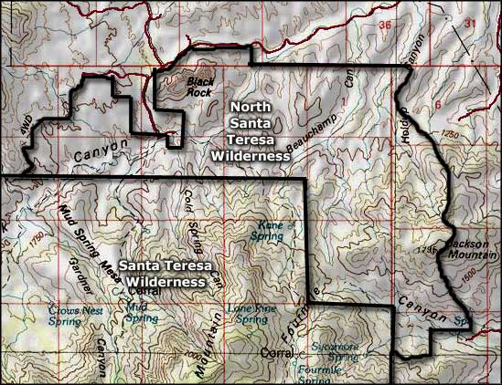 North Santa Teresa Wilderness map
