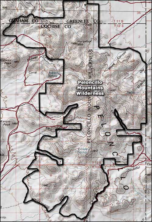 Peloncillo Mountains Wilderness map
