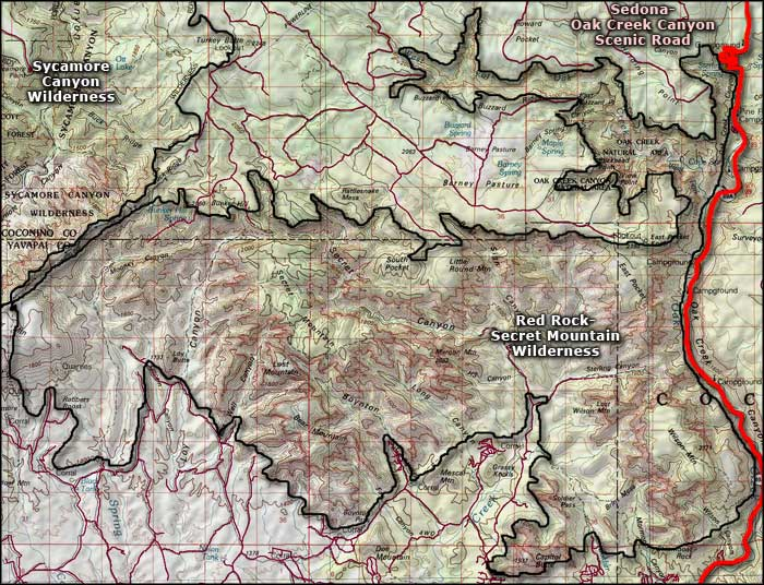 Red Rock-Secret Mountain Wilderness map