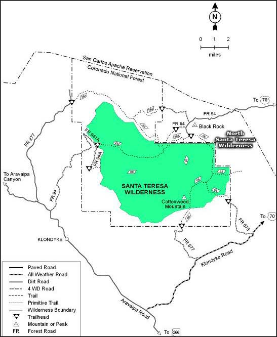 Santa Teresa Wilderness trail map