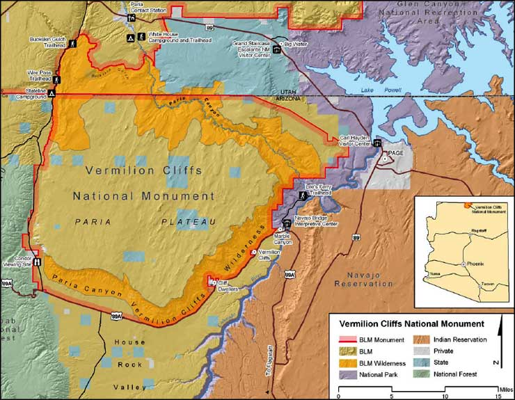 Map of Vermilion Cliffs National Monument