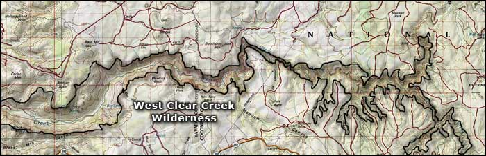 West Clear Creek Wilderness map