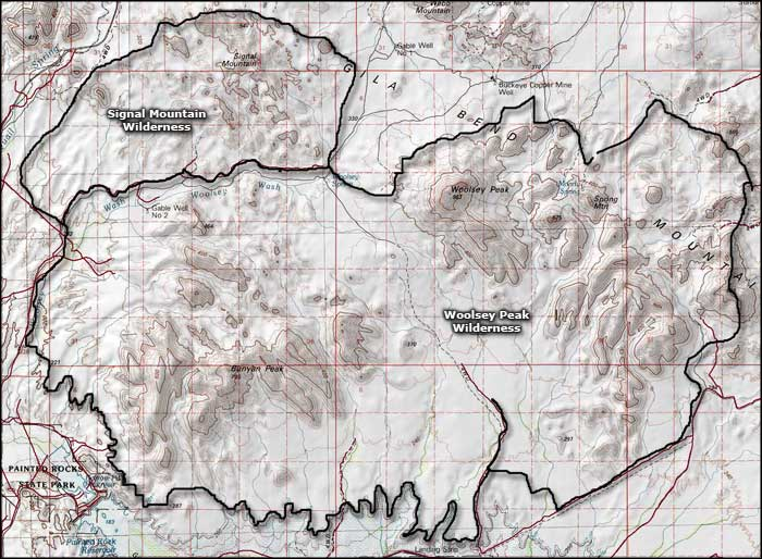 Woolsey Peak Wilderness map