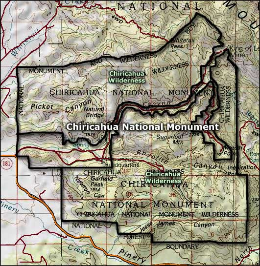 Map of Chirichua National Monument
