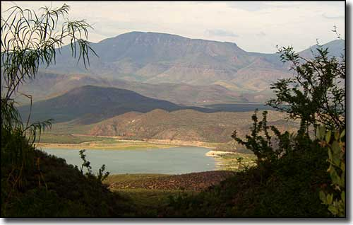 Roosevelt Lake, at the southern end of the Desert to Tall Pines Scenic Road