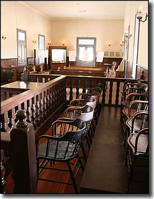 The restored courtroom at McFarland State Historic Park