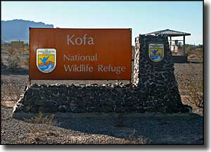 Sign marking Kofa National Wildlife Refuge