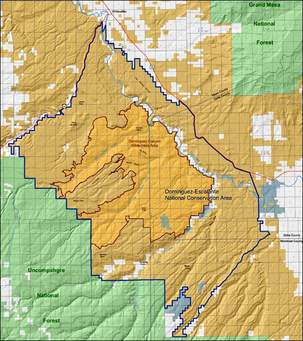 Map of Dominguez-Escalante National Conservation Area