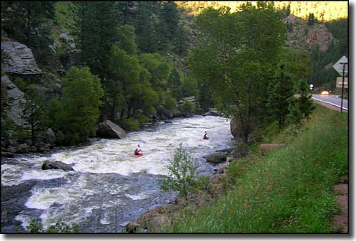 Kayakers on the Cache la Poudre