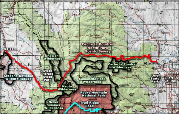Cache la Poudre North Park Scenic Byway area map