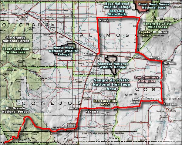 Alamosa National Wildlife Refuge area map