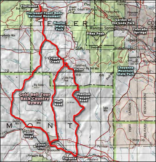 Gold Belt Tour Back Country Byway area map