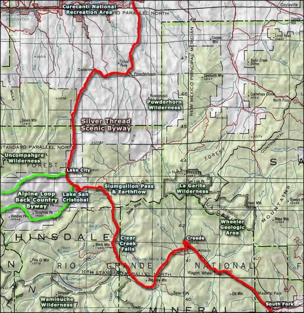 Powderhorn Wilderness area map