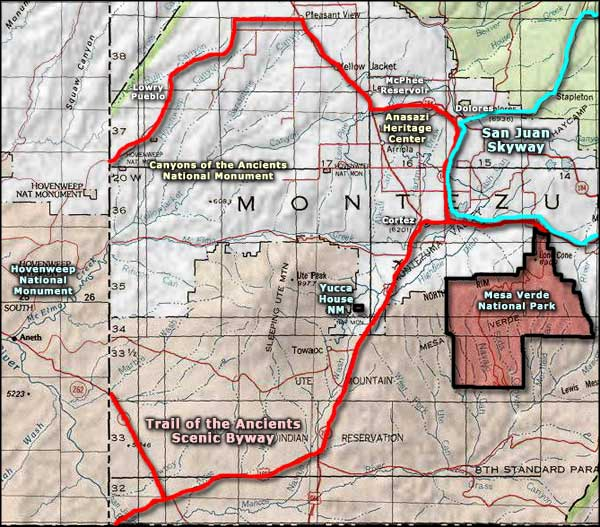 Canyons of the Ancients National Monument area map