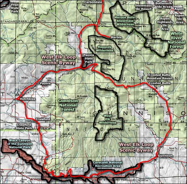 Black Canyon of the Gunnison Wilderness area map