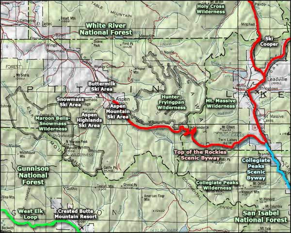 Map showing wilderness areas around Aspen, Colorado