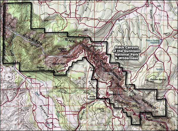 Black Canyon of the Gunnison Wilderness topo map
